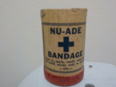 """NU-ADE bandage vintage first aid in cardboard """"can"""", missing top lid, full"""