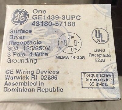 NIB GE Surface Dryer Receptacle 30A 125/250V 3 Pole 4 Wire Grounding GE1439-3UPC
