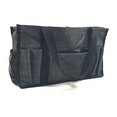 Retired THIRTY ONE Keep It Caddy Small Utility Tote BAG Gray Charcoal Crosshatch