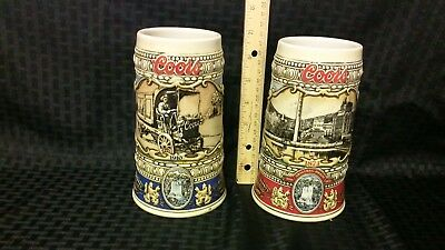 Coors Steins 1988 & 1989 (1910 truck and 1873 brewery)