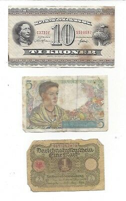3 French Denmark German Notes 10 TI Kroner 1936 Cinq Francs France 1943 Germany