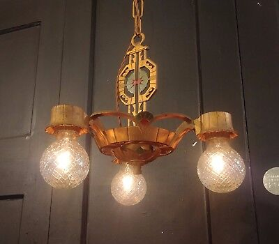Vintage Art Nouveau 3 Bulb Chandelier - Ceiling Lamp Light Fixture Polychrome