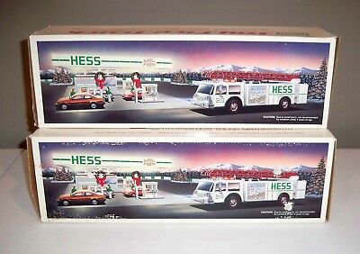 Lot of Two 1989 Hess White With Green Trim Fire Trucks - NIB