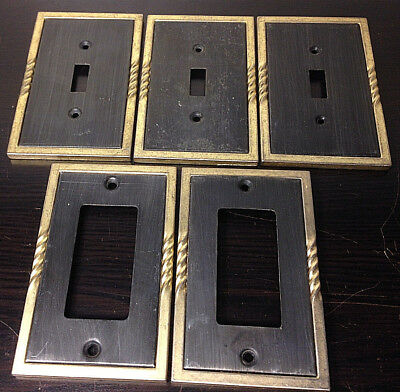Vintage Metal Outlet & Light Switch Plates Lot Of 5~Framed