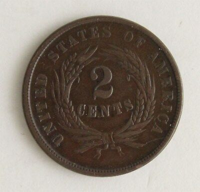 Original 1864 Early Copper Large Two Cent Piece Wheat Wreath US Currency Coin NR