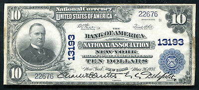 1902 $10 The Bank Of America National Assocation New York, Ny Ch. #13193 Xf
