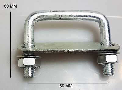 3 Oval Round U-Bolts Brackets Roof Boat Trailer Roof 60x90x10mm M10 Nut Plate UBS-60B