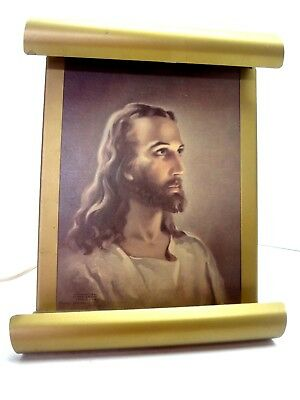 Vintage Jesus Gold Tone Lighted Scrolled Metal Wall Picture 1941 Kreibel Bates