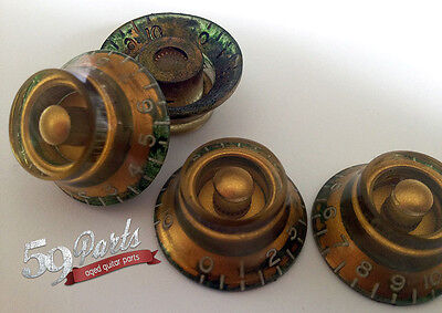 Aged Relic Gibson Top Hat Bell Knobs 4 Pcs Vintage Les Paul Gold 59 Parts