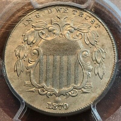 1870 Shield Nickel PCGS AU50 Beauty for Grade New Purchases CHN!