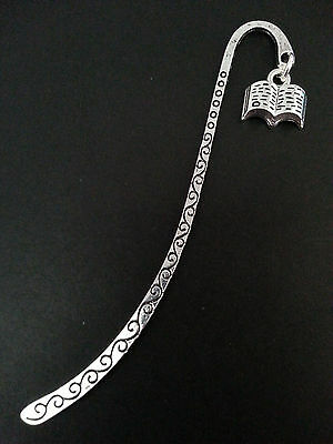 New Collectable Antique Silver Tone Metal Bookmark with Open Book Shape Charm