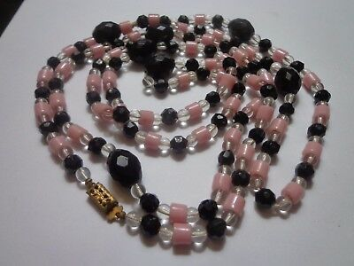 Antique Art Deco Flappers 20's Glass Necklace 48 In