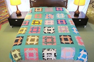 FULL Vintage Feed Sack, Shirting Cotton Hand Set MONKEY WRENCH Quilt TOP, Good!