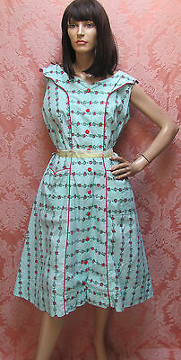 PLUS-SZ Vtg 50s DESPERATE HOUSEWIFE Tiffany-Blue DRESS w/ CHERRY RED ROSES-BTNS