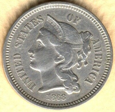 Usa...1868 3 Cents Copper-Nickel...interesting Reverse Die Breaks