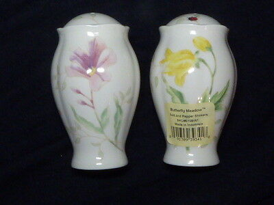 Lenox Butterfly Meadow Salt and Pepper Shaker Mill Porcelain Set