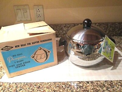 2 QT Vintage Chrome West Bend PENGUIN Hot &Cold Server- New in Box -Made in USA