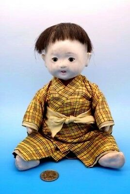 Vintage Japanese Ichimatsu Baby Doll - Paper Mache & Gofun - All Original