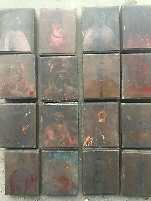 Vintage Etched Copper Printing Plate Block lot Church Priest Engravings