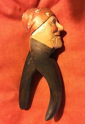 Nut Cracker Anri Hand Carved Wood Figure Original Paint Italy Fish Tail Handle
