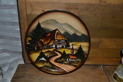 Vintage German Hand Carved Wooden Plate Plaque West Germany Colored