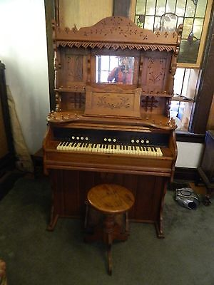 Antique Sears Roebuck Oak Pump Organ And Stool Eastlake Spoon Carved