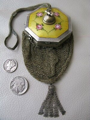 Antique STERLING SILVER Yellow Guilloche Enamel Micro Mesh Purse Compact R&G