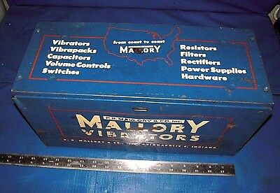 Mallory metal vibrators DISPLAY CASE/Door, 2 shelves, & 1 six segments drawer