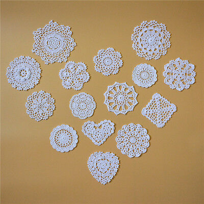 75 pcs Handmade Crochet Lace Doilies Round Square Cup Coasters Cushion 15 styles