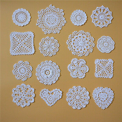 80 pcs Handmade Crochet Lace Doilies Round Square Cup Coasters Cushion 16 styles