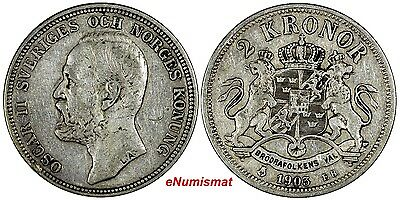 Sweden Oscar II Silver 1903 EB 2 Kronor aVF Condition SCARCE KM# 761 (10 357)