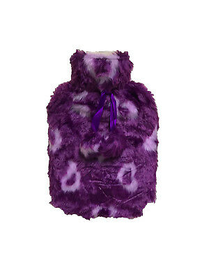 Hot Water Bottle With Faux Fur Cover Jacquard Hearts Purple/White