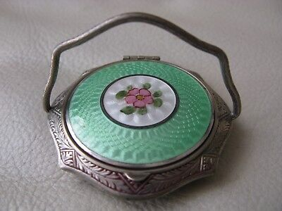 Antique Silver T Green White Guilloche Enamel Floral Woopie Handle Purse Compact