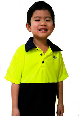 Kids Hi Vis Polo Work Shirt Pink Yellow Orange TEXT Embroidery Optional