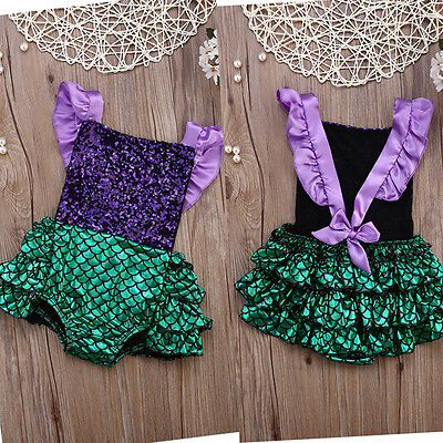AU Kids Baby Girls Romper Jumpsuit Mermaid Outfits Backless Sunsuit Clothing