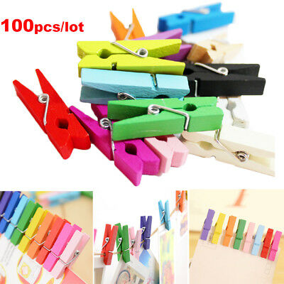100pcs Mini Wooden Pegs Clothes Pins Photo Paper Peg Clothespin Craft Clips HOT