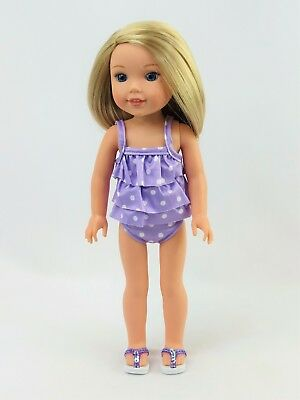 "Lavender 2pc Polka Dot Swimsuit Fits Wellie Wishers 14.5"" American Girl Clothes"