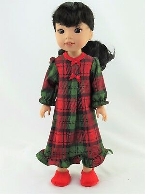 """Red and Green Plaid Nightgown Fits Wellie Wishers 14.5"""" American Girl Clothes"""