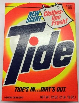 Vintage Tide Powder Laundry Detergent Giant Size 42 Oz. Box Full And Unopened