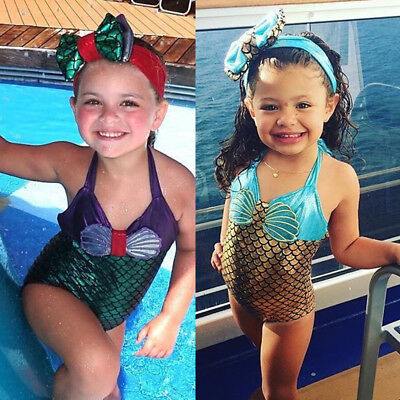 Princess Baby Kids Girls Mermaid Bikini Swimsuit Swimwear Bathing Suit Outfits