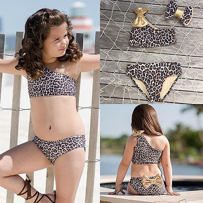 Kids Baby Girls Leopard Bikini Swimwear Swimsuit Bathing Suit Outfits Clothing