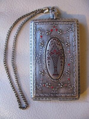 Antique Silver T Red Guilloche Enamel Floral Basket Coin Holder Purse Compact