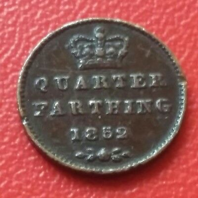 Vintage Queen Victoria  Very Old Coin Of Quarter Farthing 1852