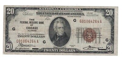 1929 $20 Federal Reserve National Bank Note Chicago