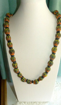 Jewellery  Hand Painted Indigenous Seed Pod Bead Necklace Red,yellow,black 652