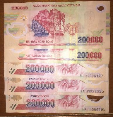 1 Million Vietnamese Dong 5 x 200,000 Notes Vietnam Polymer Currency Circulated