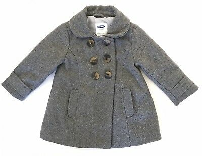 Old Navy Toddler Girl Gray Wool Blend Pea Coat Size 12-18 months