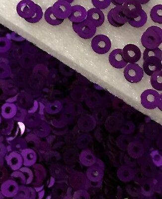 Sequins Tiny Pansy Purple Metallic 3mm Flat Round Choose Pack Size