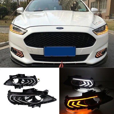 Led Drl For Ford Fusion Mondeo Daytime Running Light Fog Lamp With Turn Signal