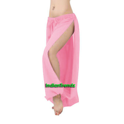 Pink Chiffon Both Leg Slit Harem Yoga Pant Belly Dance Pantaloons Halloween